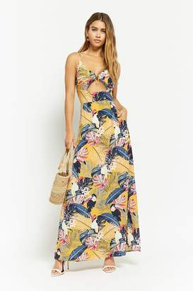 Forever 21 Nature Print Cutout Maxi Dress