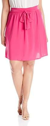 Star Vixen Women's Plus-Size Knee-Length Full Skater Skirt with Self-Tie Bow Belt, FUSH