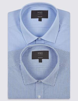 Marks and Spencer 2 Pack Cotton Blend Regular Fit Shirts