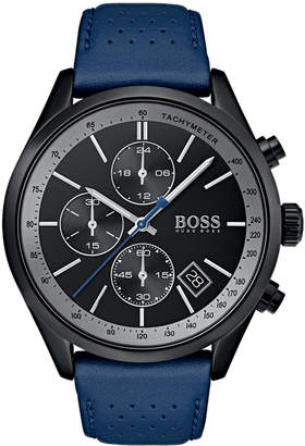 BOSS Hugo Men's Chronograph Grand Prix Blue Perforated Leather Strap Watch 44mm