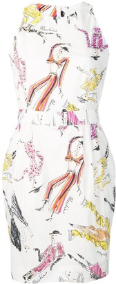 Moschino hand-drawn print belted dress