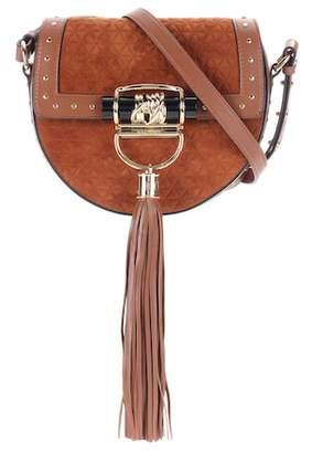 Balmain Embellished suede saddle bag