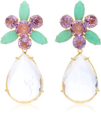 Bounkit Amethyst Chrysoprase and Quartz 14K Gold-Plated Brass Drop Earrings