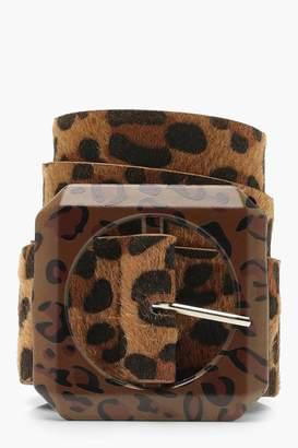 boohoo Statement Buckle Leopard Belt