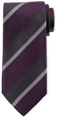 Canali Large Repp Stripe Silk Tie