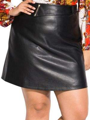 City Chic Plus Mad Love Faux-Leather Skirt