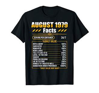 August 1979 Funny Nutrition Facts 40th Birthday Gift T-Shirt