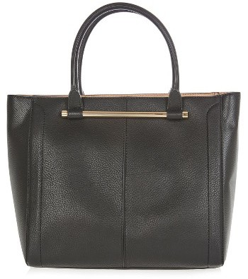 TopshopTopshop Halo Bar Handle Faux Leather Tote - Black
