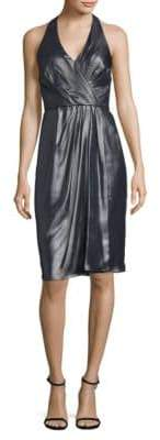 Vera Wang Foil Sleeveless Wrapped Dress