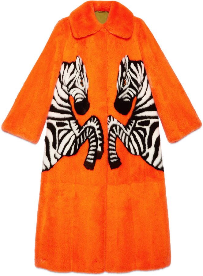 Mink coat with zebra intarsia