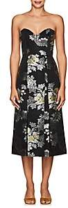 Erdem Women's Leora Floral-Jacquard Strapless Dress-Black Multi