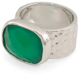 Sterling Silver Green Onyx Wide Band Ring