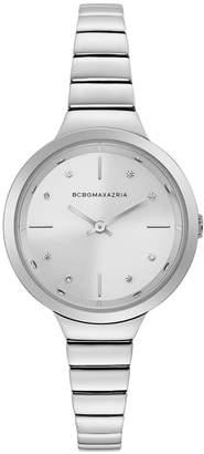 BCBGMAXAZRIA Ladies Silver Bracelet Watch with Silver Dial, 34MM