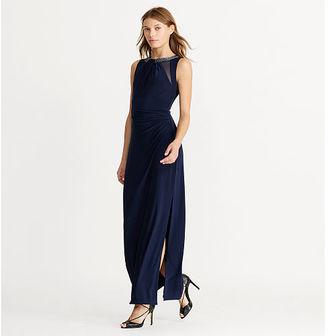 Ralph Lauren Mesh-Insert Jersey Gown $190 thestylecure.com