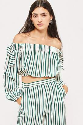 Love **Striped Tie Sleeve Bardot Top