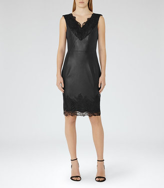 Etty Leather And Lace Dress $845 thestylecure.com