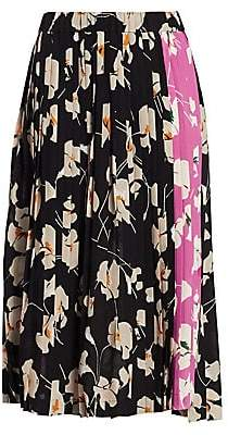 No.21 No. 21 No. 21 Women's Silk Colorblock Floral Pleated Midi Skirt