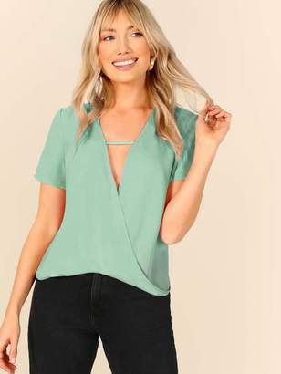 Shein Plunging Neck Cut Out Front Wrap Draped Top