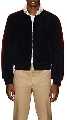 09f45fa2564 Thom Browne Men s Colorblocked Shearling Bomber Jacket - Navy