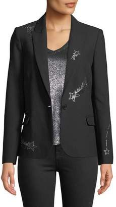 Zadig & Voltaire Victor Embellished Single-Button Blazer