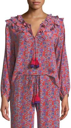 Figue Millie Frida Floral-Print Silk Crepe de Chine Peasant Blouse