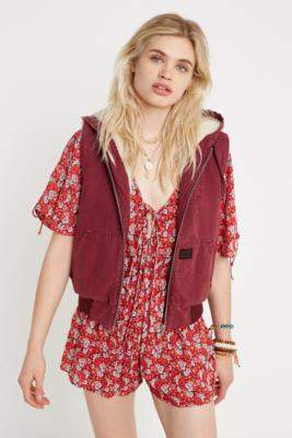 BDG Sleeveless Canvas Gilet - red XS at Urban Outfitters