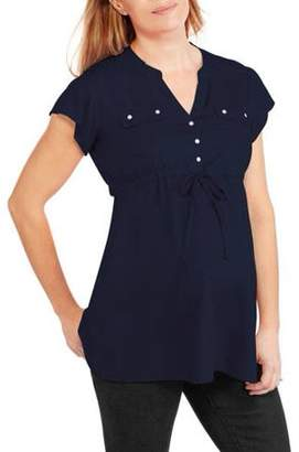 Oh! Mamma Maternity Drawstring Waist Button Front Top--Available in Plus Size
