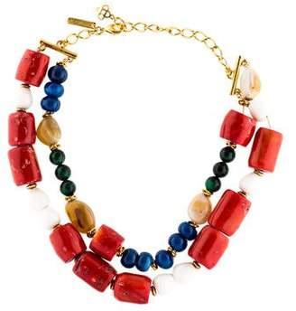 Oscar de la Renta Multistone Double Strand Bead Necklace