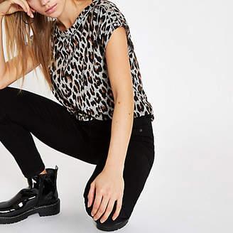 River Island Grey leopard print button shoulder T-shirt
