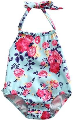 Flower Tiger Baby Girls' Multiflora Rose Print Ruffles Romper Summer Dress (0-6 Months, )
