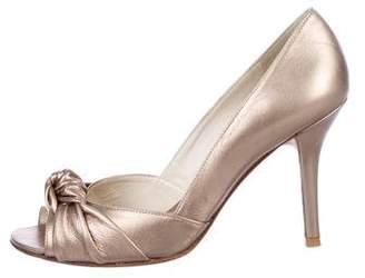 Stuart Weitzman Peep-Toe Mid-Heel Sandals