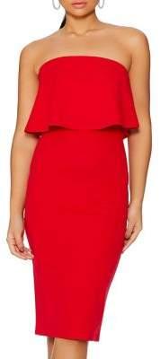 Quiz Strapless Frill Midi Dress