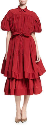 Brock Collection Danika Double-Layer Taffeta Midi Dress