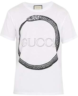 Gucci Snake And Logo Print Cotton T Shirt - Mens - White