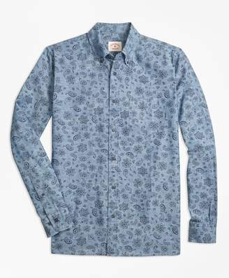 Brooks Brothers Paisley-Print Cotton Chambray Sport Shirt