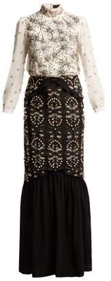 Saloni Isa Beaded Silk Crepe De Chine Dress - Womens - Black Multi