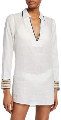 Tory Burch Embroidered Linen Beach Coverup Shirt