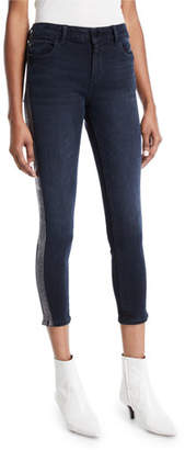 DL1961 Premium Denim Florence Cropped Mid-Rise Skinny Jeans with Side-Stripes