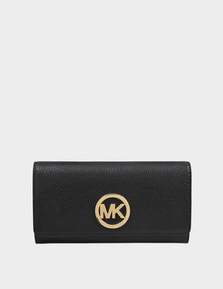 MICHAEL Michael Kors Fulton Large Gusset Carryall Wallet in Black Soft Venus 18K