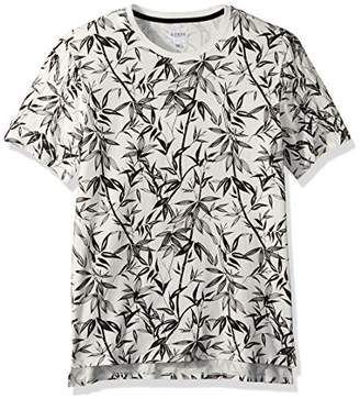 GUESS Men's Short Sleeve Stream Bamboo Print Crew Scuffy