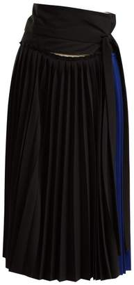 Colville - Tie Waist Pleated Wrap Skirt - Womens - Blue Multi