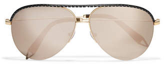 Victoria Beckham Aviator-style Gold-tone And Perforated Leather Mirrored Sunglasses - Black