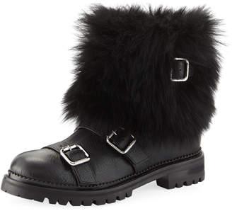 Jimmy Choo Hank Triple-Strap Moto Boots with Fur