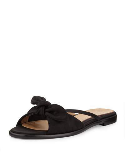 The Row April Bow Satin Slide Sandal, Black