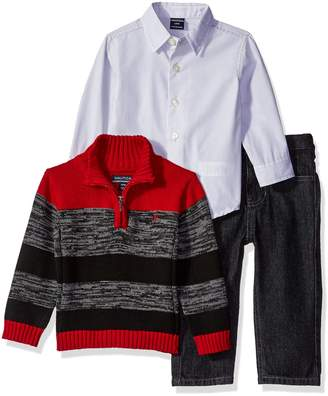 Nautica Baby Three Piece Set with Woven, Quarter Zip Sweater, Denim Jean