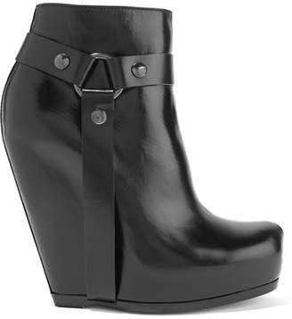 Rick Owens - Leather Wedge Ankle Boots - Black $1,860 thestylecure.com
