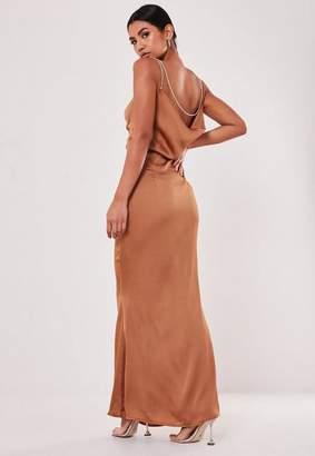 Missguided Rust Satin Diamante Strap Maxi Dress