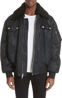 Calvin Klein Oversize Bomber Jacket with Genuine Shearling Collar