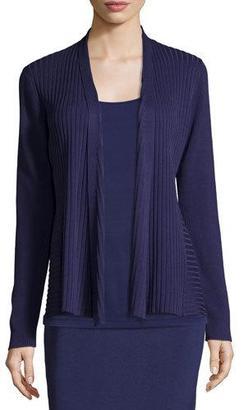 Eileen Fisher Silk/Organic Cotton Ribbed Cardigan, Dark Night $235 thestylecure.com