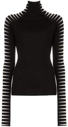 Haider Ackermann Knit striped sleeve wool-silk blend turtleneck